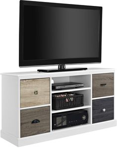 Features:  -There are actually holes to pull cords through on both the top and middle shelves.  -There are four openings where just the four door fronts are placed to cover the opening, the TV stand d