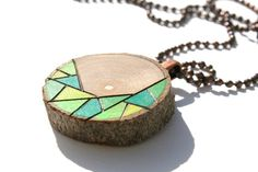 Wood Slice Pendant Necklace Wood Burned Original by MudHorseArt