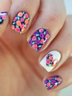 If you want to be trendy, floral nail art designs are perfect for this spring. Flowers are everywhere around us so why dont we put some on our nail. For today I made a beautiful collection of 26 floral nail art designs. Heart Nail Designs, Flower Nail Designs, Cute Nail Designs, Cute Nail Art, Cute Nails, Pretty Nails, Floral Nail Art, Heart Nails, Fancy Nails