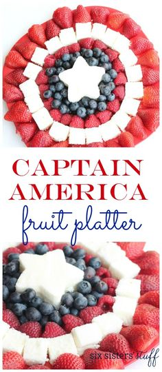 Captain America Fruit Platter from Six Sisters' Stuff | Win the hearts of your Captain America loving kids or friends with this fruit platter. Serve with chocolate fruit dip as a welcome appetizer, side or dessert for any party or summer bbq!