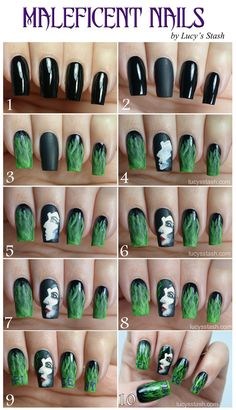 Maleficent nail art manicure with picture TUTORIAL   http://lucysstash.com/2014/05/maleficent-nail-art-manicure-with-picture-tutorial.html