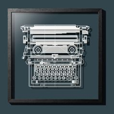 Paper-cut Antique Typewriter 18 In. Framed, Original Size, Paper Art IDEAL GIFTS