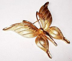 """Up for your consideration is this Crown Trifari Butterfly Brooch Pin Designer Signed Gold Metal 2.5"""" #Vintage 1960s presented by Brightgems Treasures.   Really nice Crown Tr... #jewelry #vintage #teamlove #etsy"""