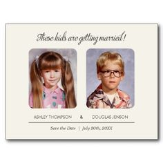Old School Photos Save the Date Postcard. This would also be cute to have on individual tables- Camilla