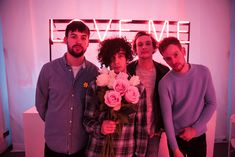 The Ross MacDonald, Matthew Healy, George Daniel and Adam Hann pose before their sell-out at Vinyl in Las Vegas. Photo via Kirvin Doak by Chase Stevens / Hard Rock Hotel House Photographer Neon Sign Tumblr, New Music, Good Music, The 1975 Concert, The 1975 Me, Matthew Healy, George Daniel, Alternative Rock Bands, Album
