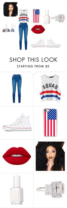 """""""team u.s.a"""" by jaedynsymone on Polyvore featuring Chicnova Fashion, Converse, Casetify, Lime Crime, Kylie Cosmetics, Essie and Fantasia by DeSerio"""