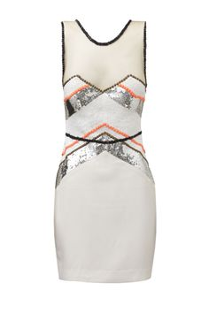 GOING HOME - short dress with sheer tulle in bodice with embellishment detailing across the bust & waist.