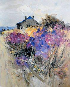 by Jean Paul Surin Landscape Artwork, Abstract Landscape Painting, Watercolor Landscape, Watercolor Paintings, Watercolours, Beautiful Paintings, Painting Inspiration, Flower Art, Canvas Art