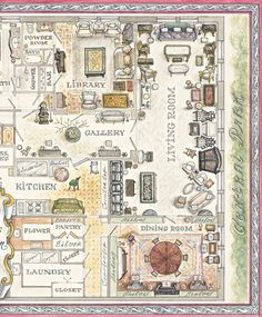 Partial floorplan of Howard Slatkin NYC apartment from his forthcoming book FIFTH AVENUE STYLE.   Watercolor by Sasha Solodukho