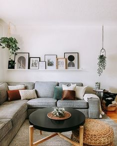 Saying GOODBYE — .to the grey couch! It'll be olive green the next time you see her! With IKEA couches, you're able to switch out the… Living Room Green, Boho Living Room, Home And Living, Living Room Ideas With Grey Couch, Living Room Decor Grey Couch, Living Room Inspiration, Apartment Living, Living Room Designs, Interior Design