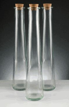 Tapered Glass Bottles with Cork Top 13.5 oz