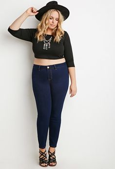 Plus Size Skinny Jeans (Short) | Forever 21 PLUS - 2000056784