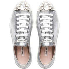 Miu Miu Lace-Up ($790) ❤ liked on Polyvore featuring shoes, sneakers, swarovski crystal shoes, leather cap toe lace-up shoes, laced up shoes, metallic lace up shoes and metallic shoes