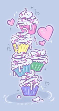 Cupcake Party by MissJediflip on DeviantArt Cupcakes Wallpaper, Food Wallpaper, Pastel Wallpaper, Mobile Wallpaper, Wallpaper Backgrounds, Iphone Wallpaper, Cupcake Party, Tattoo Drawings, Art Drawings