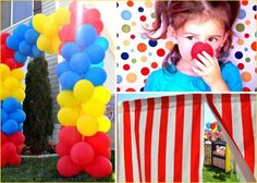 create a balloon entrance and have striped red fabric leading out to the backyard.