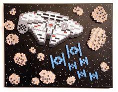 Items similar to Star Wars Retro Art. Perler Beads on Canvas. Perler Beads, Perler Bead Art, Hama Perler, Pixel Art, Perler Bead Templates, Perler Patterns, Art Perle, Hama Beads Design, Fusion Beads