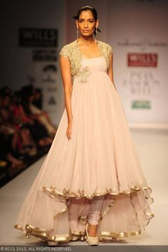 Krishna Somani showcases a creation by Rabani and Rakha on Day 4 of Wills Lifestyle India Fashion Week (WIFW) Spring/Summer 2014, held in De...