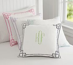 Bright pink Greek Key Decorative Sham #pbkids