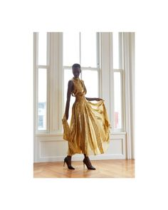 Graceful wearing an evening dress with draped bodice and flowing scarf neckline in gold silk lamé with silk chiffon inserts. Photography by Bodice, Neckline, Gold Silk, Silk Chiffon, Harem Pants, Evening Dresses, How To Wear, Photography, Fashion