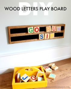 Scrap wood lovers I've got another project for you that makes a fun kids learning toy: wood letters play board. Gather up all your pieces to make the wood letters and paint them fun colors or use vinyl cutouts if you're fancy! Kids can easily move the Diy Wood Projects, Wood Crafts, Woodworking Projects, Teds Woodworking, Kids Learning Toys, Bric À Brac, Diy Bebe, Homemade Toys, Wood Letters