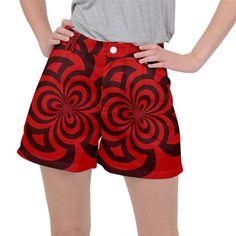 Spiral Abstraction Red, abstract curves pattern, mandala style Ripstop Shorts #pants #shorts #ripstop #cowcow #womens #fashion #look #style Mandala, Creative Design, Curves, Gym Shorts Womens, Abstract, Womens Fashion, Fabric, Pattern, Red