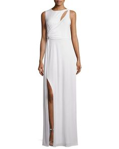 Sleeveless+Draped+Gown+W/Cutouts,+Bone+by+Halston+Heritage+at+Neiman+Marcus+Last+Call.