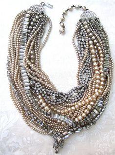Chunky Rhinestone Necklace Pearl Bib Statement Necklace Bridal Rhinestone & Pearl (Tom Binns Inspired) Multi Layer Vintage Wedding Necklace