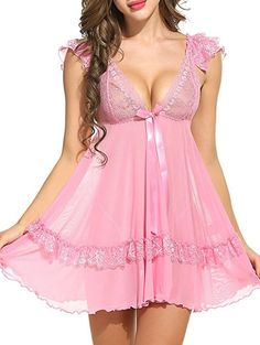 See Through Plunging Neck Swing Babydoll - PINK S