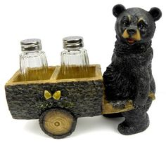 Black Bear Pushing Wheelbarrow Salt and Pepper Shaker - American Expedition