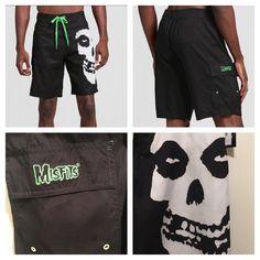 4e4d296ee5 New Men's Punk Goth Misfits Skull Logo Board Shorts Swim Trunks XXL