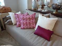 Jewel tone #pillows add a boost of color to neutral-colored #couch #mecox #interiordesign #mecoxgardens #furniture #shopping #design #decor #home #designidea #room #vintage #antiques #garden