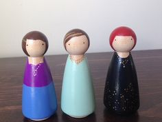Fancy Ladies  Large Handpainted Wooden Peg Dolls by LittleKidGifts