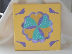 "12"" x 12"" Yellow/Purple/Mint Green Country Quilt Block Wall Hanging by KimsCountryCorner on Etsy"