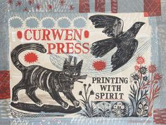 "Mark Hearld - Curwen Print for Tate Britain [""Printing with Spirit"" litho was created to celebrate 50 years of the Curwen Studio exhibition] Red Crayon, Glasgow School Of Art, Royal College Of Art, Linocut Prints, Woodcut Art, Cat Art, Letterpress, Printmaking, Folk Art"