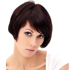 Another cropped bob with blunt bangs, this is a great short hairstyle for thick hair. Full hair is cut into a rounded profile with soft face framing layers. The asymmetrical bob is completed with angled bangs.