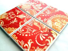 Hand Crafted Ceramic Tile Drink Coasters only 15 dollars per set on Etsy by QueenOfDeTile