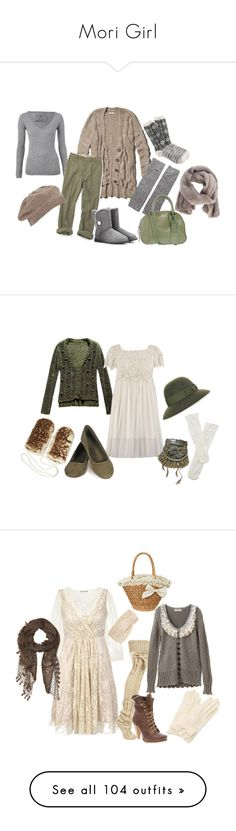 """""""Mori Girl"""" by roseunspindle ❤ liked on Polyvore featuring Abercrombie & Fitch, DAY Birger et Mikkelsen, UGG Australia, John Lewis, Pieces, J.Crew, Rochas, LISKA, Trasparenze and STELLA McCARTNEY"""
