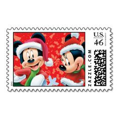 Mickey & Minnie With Snowflake Postage Stamp! Super Cute!! {REPIN} and {FOLLOW} us! www.blissfulbabynurse.com
