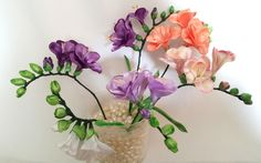 Ribbon flowers: freesia of satin ribbons/tutorial/Цветы из лент: Фрезия. МК