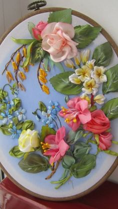 Stunning ribbon embroidery ~ looks like pink and yellow roses, fushia, blue…