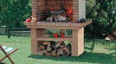 Barbacoas de obra   Chimeneas Pio Bbq Kitchen, Firewood, Outdoor Decor, Crafts, Home Decor, Barbecue Design, Barbecue Garden, Fire Places, Gardens