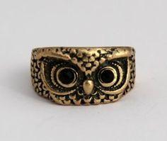 Bronze Owl Ring with Jewel Eyes. $5.99, via Etsy.