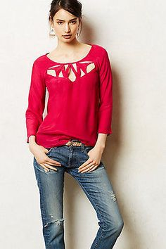 NWT ANTHROPOLOGIE Maeve Continue Cutout Tee Blouse Top Various Sz Pink Color