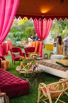 Inspirational Indian Wedding Rehearsal Dinner with a Hot Pink Color Scheme