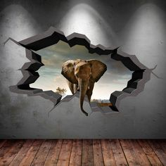 Elephant Wall Decal Cracked 3d Wall Sticker Mural by GlitterBlast