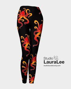 Octopus Leggings, Compression Fit, Octopi Pattern, Octopus Leggings, Tattoo Leggings, Orange, Red, Black, Ocean, Sea Life