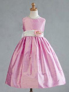Pink Polyester Dupioni Dress w/Organza Sash