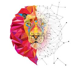 Vecteur : Lion head in geometric pattern with star line vector Geometric Patterns, Geometric Lion, Lion Vector, Vector Art, Vector Stock, Polygon Art, Color Vector, Animal Design, String Art
