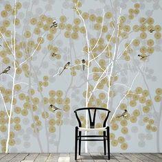 Scandinavian forest scenes with birds and birch trees. Bird Wallpaper, Wallpaper Decor, Scandinavian Wallpaper, Birch Trees, Bedroom Ideas, Feels, Textiles, Fabric, Inspiration