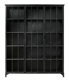 I love this industrial style metal display cabinet Metal Storage Shelves, Door Shelves, Display Shelves, Display Cabinets, Storage Cabinets, Fabric Softener Sheets, Sideboard Cabinet, Curio Cabinets, Decoration Design